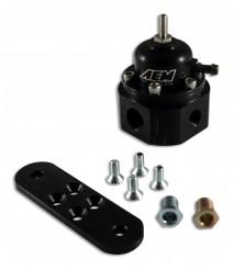"""Universal Adjustable Fuel Pressure Regulator. Black. Inlet: 2 X -6 (9/16-18) Outlet: -6 (9/16""""-18) Gauge Port: 1/8""""NPT"""