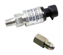 "100 PSIg Stainless Sensor Kit. Stainless Steel Sensor Body. 1/8"" NPT Male Thread. Includes: 100 PSIg Stainless Sensor, Connector, Pins & 1/8"" NPT to -4 Adapter"
