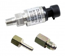 "75 PSIa or 5 Bar Stainless Sensor Kit. Stainless Steel Sensor Body. 1/8"" NPT Male Thread. Includes: 75 PSIa or 5 Bar Stainless Sensor, Connector, Pins, 1/8"" NPT to -4 Adapter & 1/8"" NPT to 3/16"" Barb Adapter"