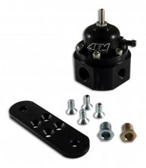 "Universal Adjustable Fuel Pressure Regulator. Black. Inlet: 2 X -6 (9/16-18) Outlet: -6 (9/16""-18) Gauge Port: 1/8""NPT"