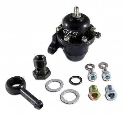 Adjustable Fuel Pressure Regulator. Black. Acura & Honda Offset Flange with 90 Degree Return Line Fitting