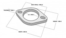 "2-bolt Stainless Steel Flange (2.75"" I.D.) - Single Flange, Retail Packed"