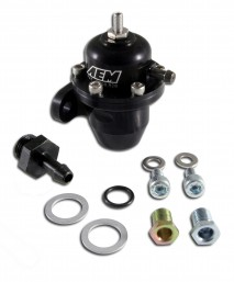 Adjustable Fuel Pressure Regulator. Black. Acura & Honda Inline Flange with Straight Return Line Fitting