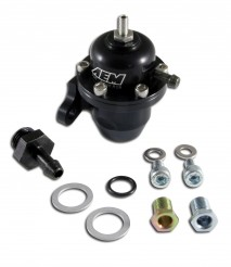 Adjustable Fuel Pressure Regulator. Black. Acura & Honda Offset Flange with Straight Return Line Fitting